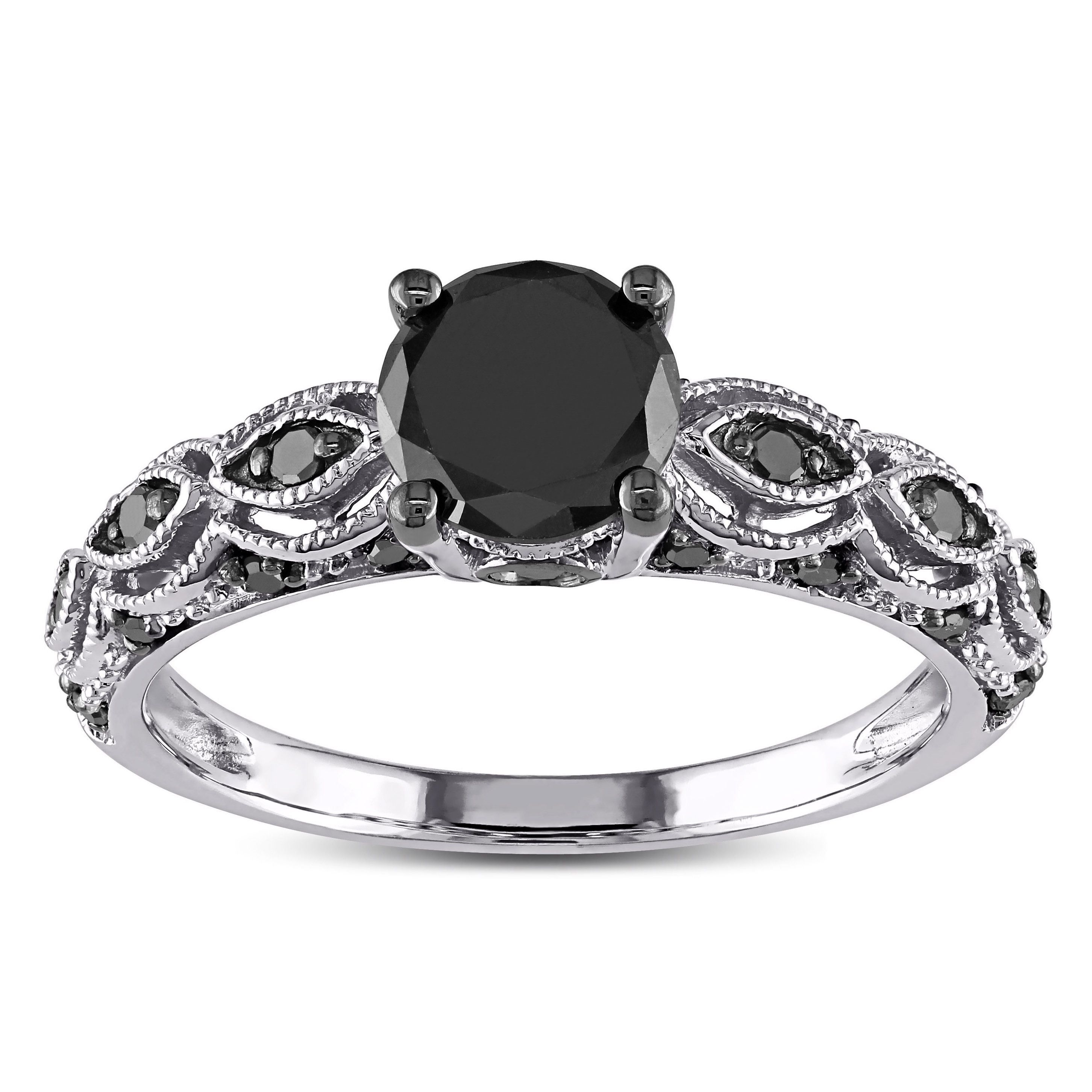 Miadora 10k White Gold 1 1 4 ct TDW Round Black Diamond Engagement