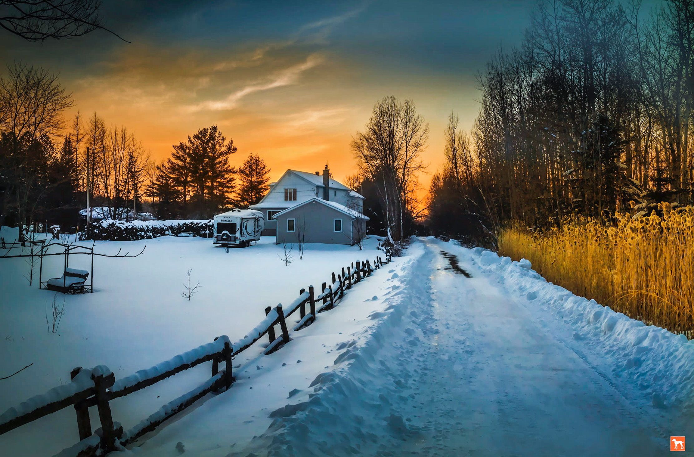 Winter Dawn Over Farm And Snowy Road Waterloo Eastern Townships Quebec By Daniel Racine On 500px Cr Landscape Photography Scenery Winter