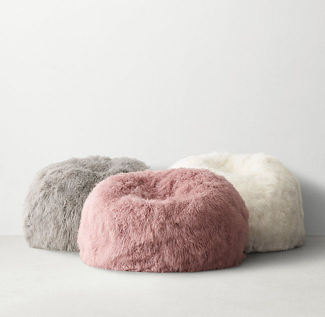 8fa793b7fc RH TEEN s Mongolian Lamb Bean Bag - Natural White Sumptuously soft and  renowned for its long