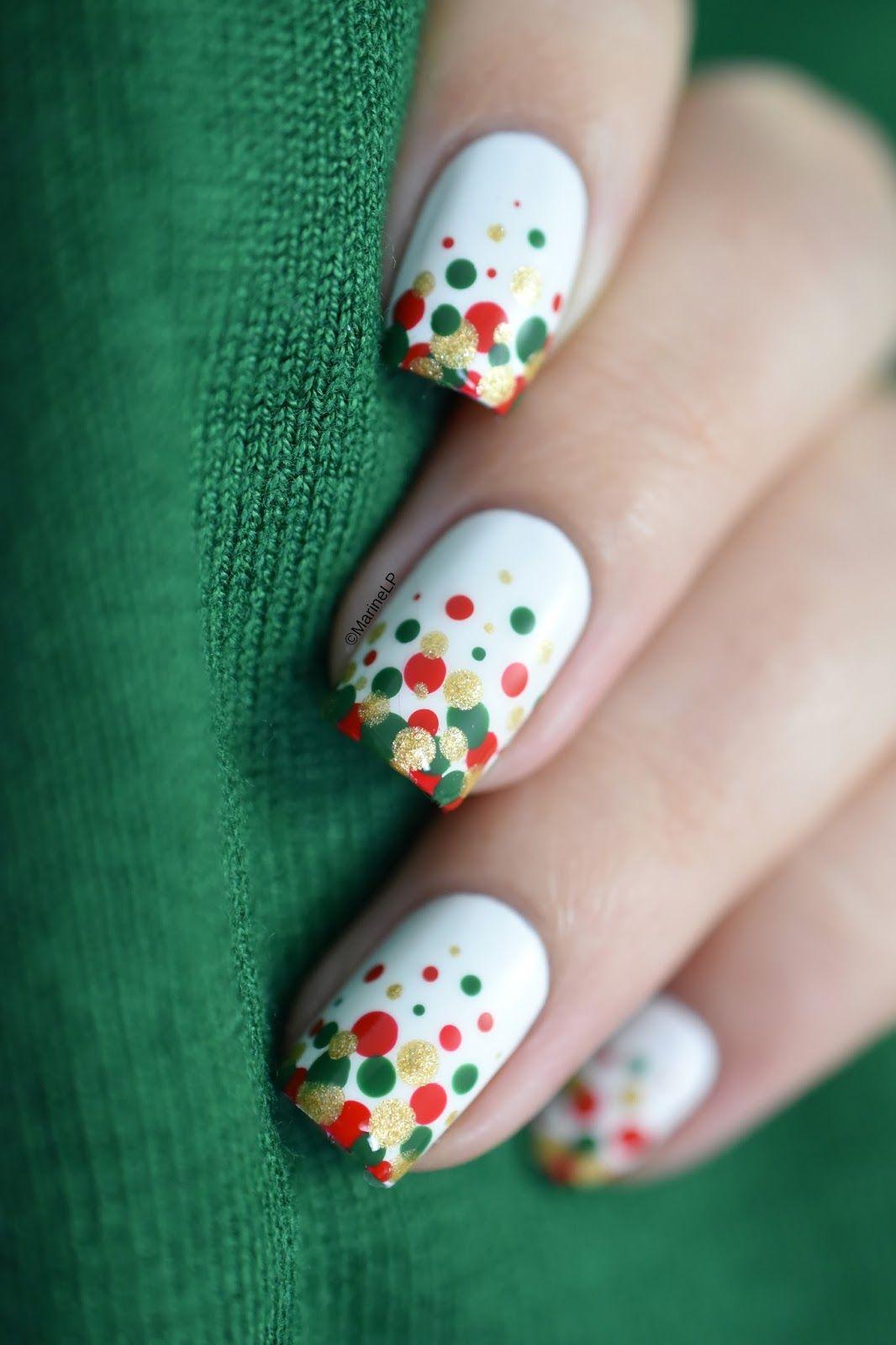 Easy and festive Christmas confetti nail art video tutorial ...