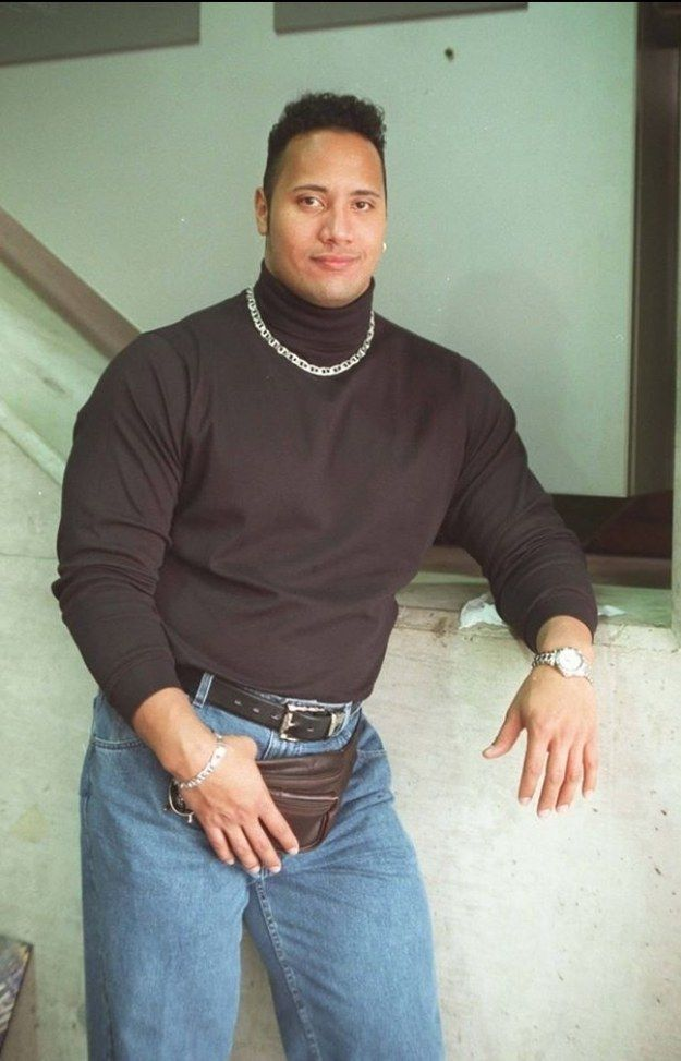The Rock rocking a fanny pack.
