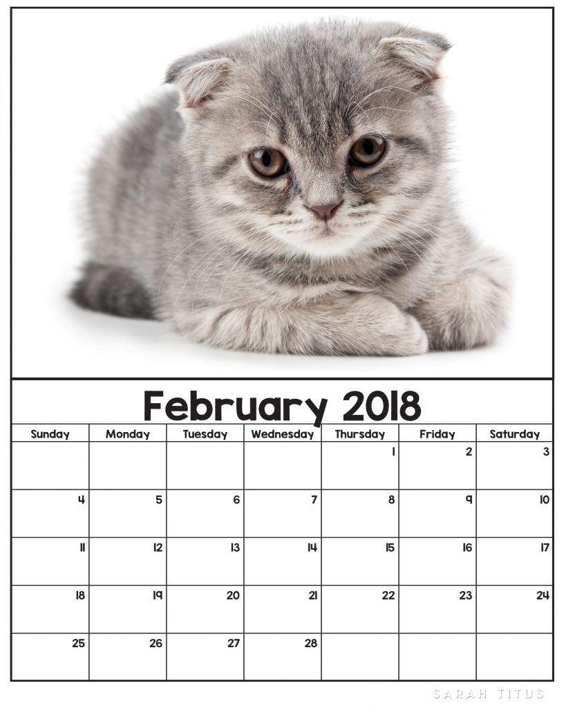 Free Printable 2018 Kitten Calendars Free Printables Printables Free