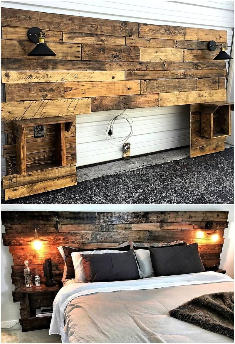 Recycled Pallets Wood Bed Headboard Lampschlafzimmer Headboards For Beds Recycled Pallets Headboard With Lights