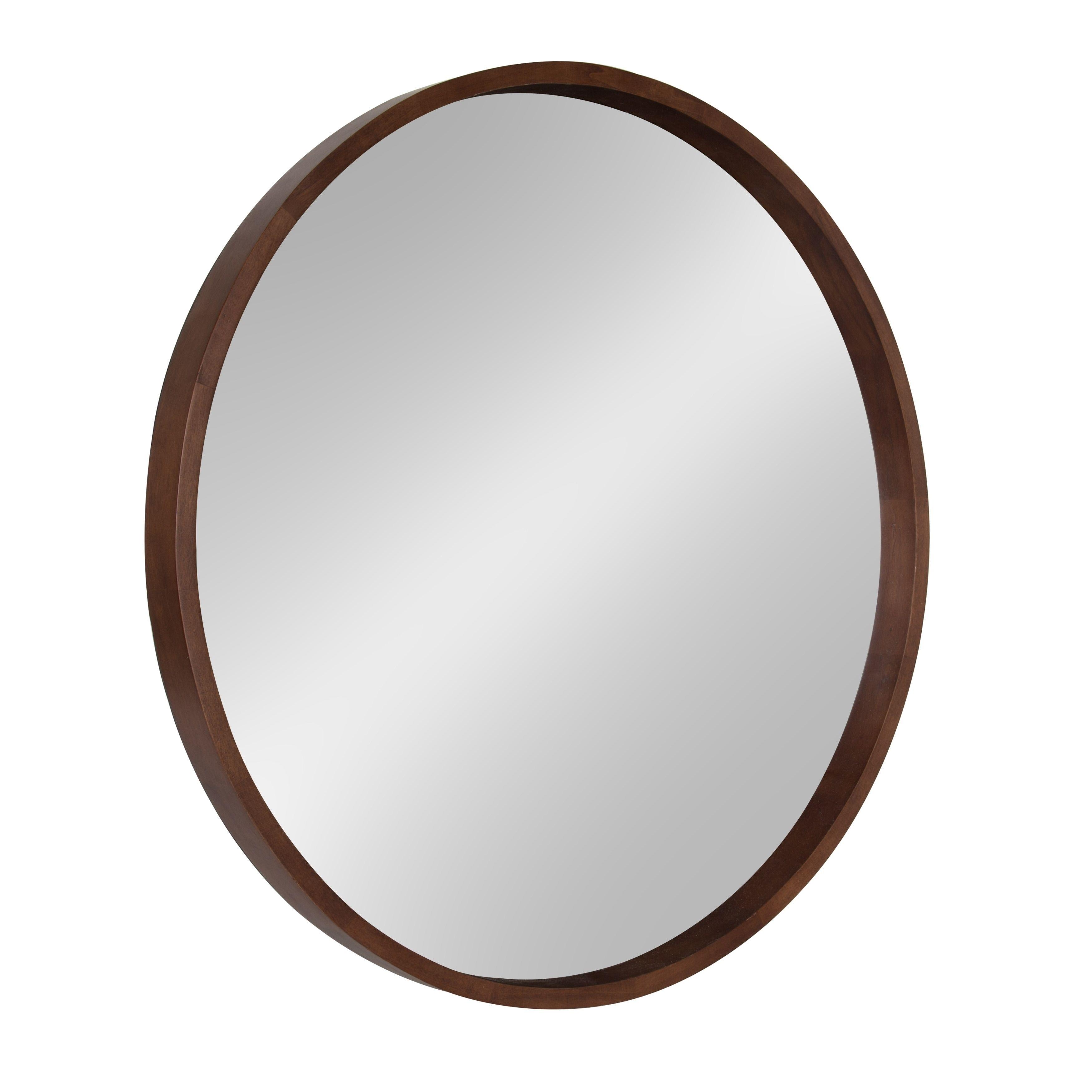 Hutton Round Decorative Wood Frame Wall Mirror 30 Inch
