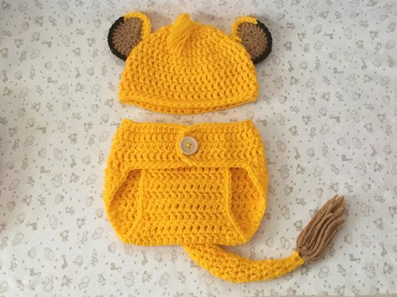 ba09734177f Crochet Baby Lion Hat and Diaper Cover Set ~ Shower Gift ~ Newborn-3 ...