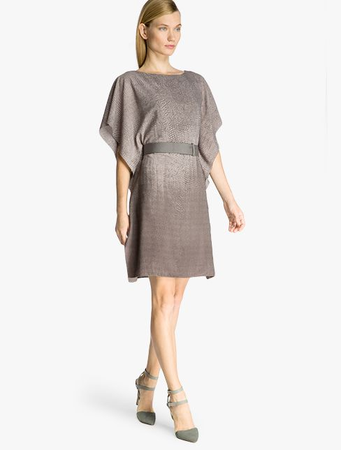 387b7ae4bb82 Halston Heritage Printed Drapey Georgette Dress. Flutter sleeves and belted  waist redefine this classic shape for the modern woman.