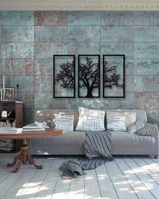 Three Homes With A Contemporary Twist On Rustic Design: Tree Of Life 3 Pieces Metal Wall Art, Modern Rustic Wall