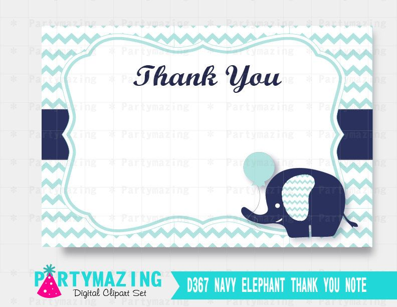 New from Partymazing on Etsy: Elephant Thank You Note Navy Blue Chevron Elephant Printable Thank You Cards Instant Download  D367 (5.00 USD) For more @partymazing