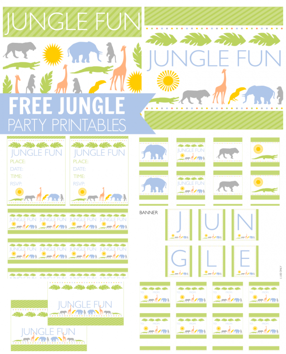 Download These Awesome Free Jungle Fun Party Printables Baby Shower Invitations For Boys Jungle Party Cupcake Birthday Party Theme