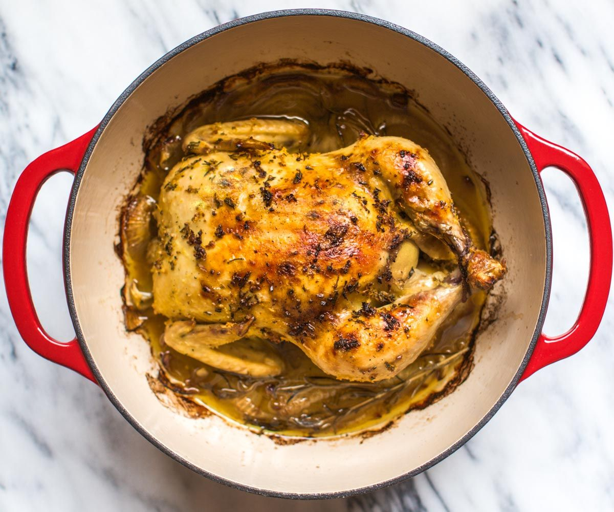 Easy Whole Roasted Chicken in the Dutch Oven (and 9 other easy one-pot recipe ideas)!   pinchofyum.com