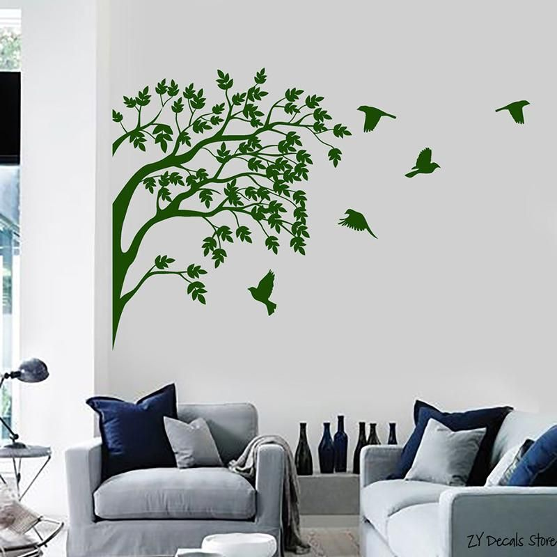 tree wall decals birds vinyl wall sticker removable wall decals