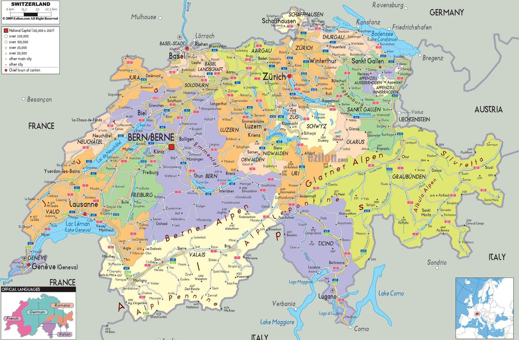 La Cartina Geografica Della Svizzera.Mappa Della Svizzera Cartina Della Svizzera Svizzera Mappa Geografia