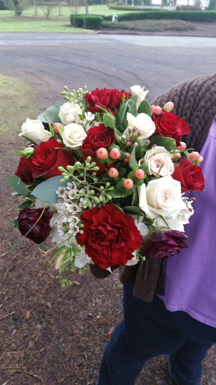 Beautiful Bridesmaids Bouquet For My December 31st Wedding Black Bacara Roses Blush Spray Roses Burgund Bridesmaid Bouquet Carnation Bouquet Wedding Flowers