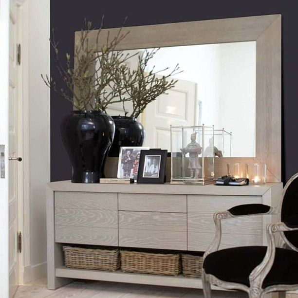 Simple hall console with matching mirror helene hennie for Dining hall decoration