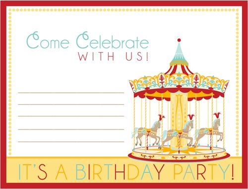 ... Free Party Printables Carnival\/Circus Birthday Party \ Free   Birthday  Template Invitations ...  Free Birthday Template Invitations
