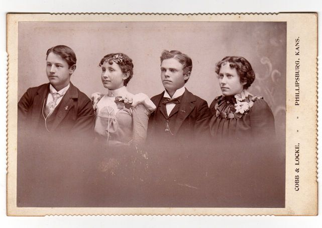 Antique Cabinet Photo, 2 Men, 2 Women, Phillipsbug Kansas Photo, Cobb & Locke Photographer, Curly Hair High Collar Dress, 1890s Cabinet Card by vintagebarrel on Etsy