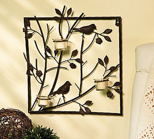 Bird Wall Sconce Votive Candle Tealight Holder Flower Leaf Accent ...