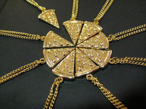 3 or 6 Pizza Slice Charm Beads Best Friends BFF Friendship fit Necklace Bracelet