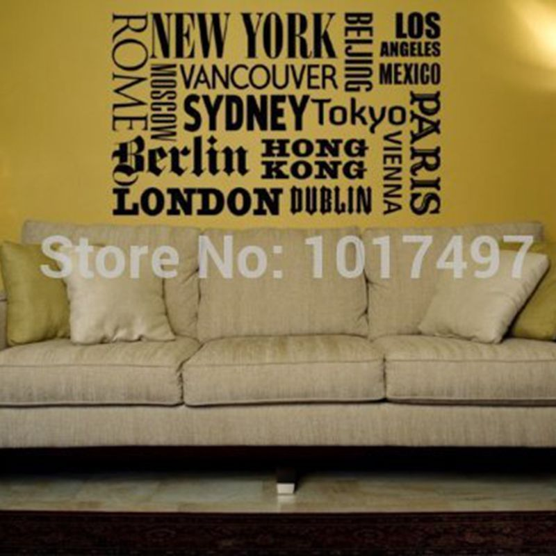 world city names vinyl wall art decals new york london paris quotes