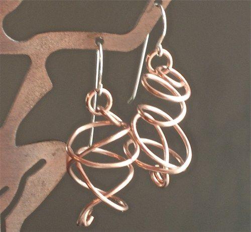 16 gauge Copper Swirly earrings on Silver Filled earwires   Omisilver - Jewelry on ArtFire