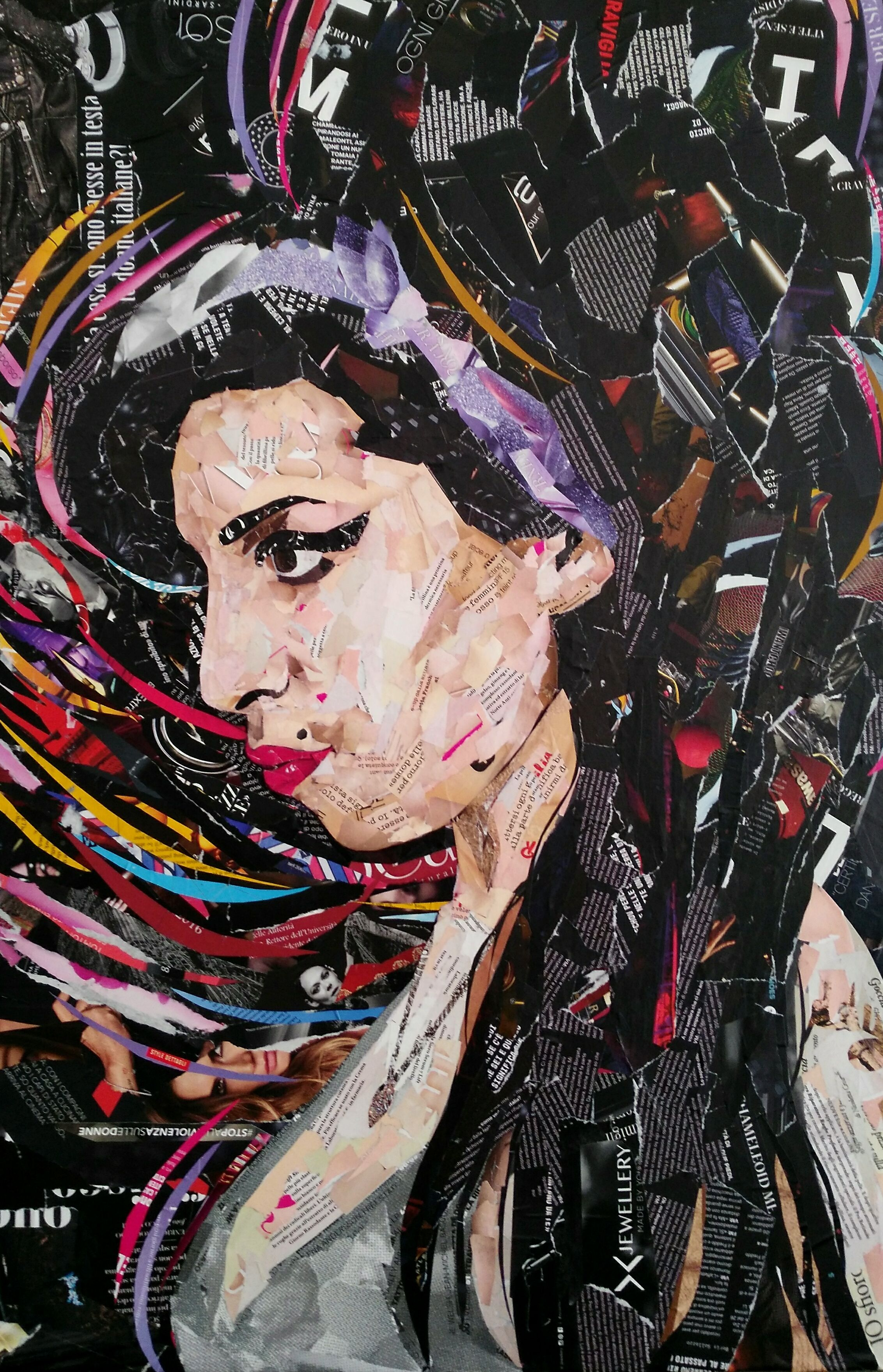 Amy Winehouse 90x60 Cm Magazine Collage Wpap Art Magazine Collage Art