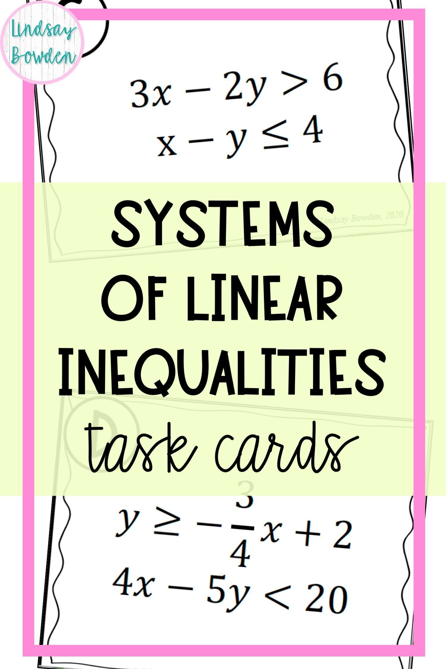 Systems Of Linear Inequalities Task Cards Algebra Activities High School Task Cards Linear Inequalities