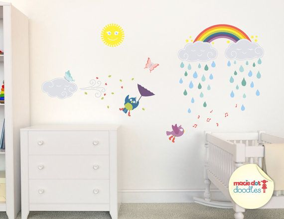 Best Sunshine And Rainbow Wall Decals Wall Stickers Girls 640 x 480