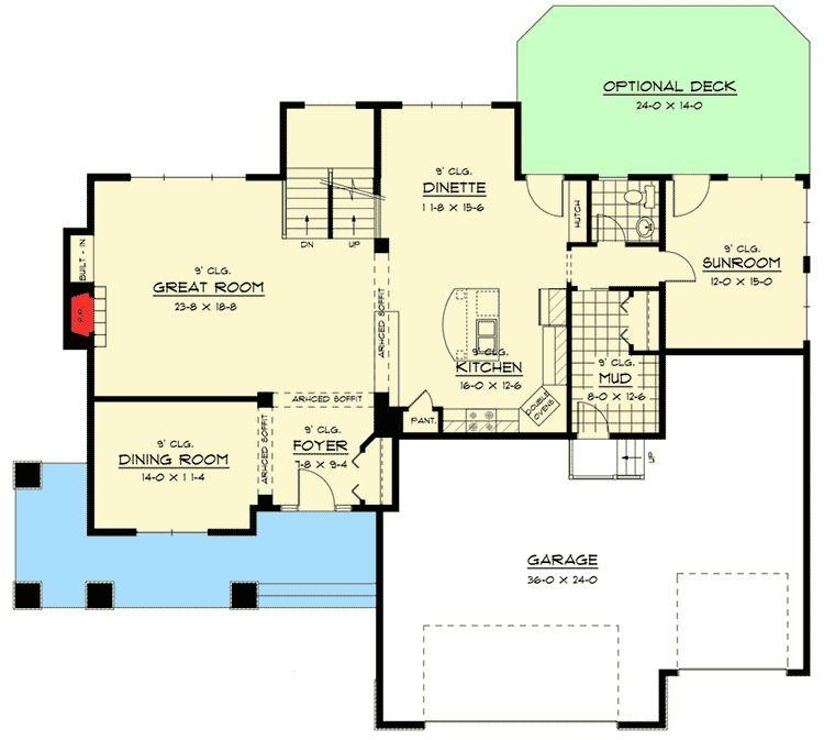 Plan 14642rk Craftsman House Plan With Sunroom Craftsman House Craftsman House Plan House Plans