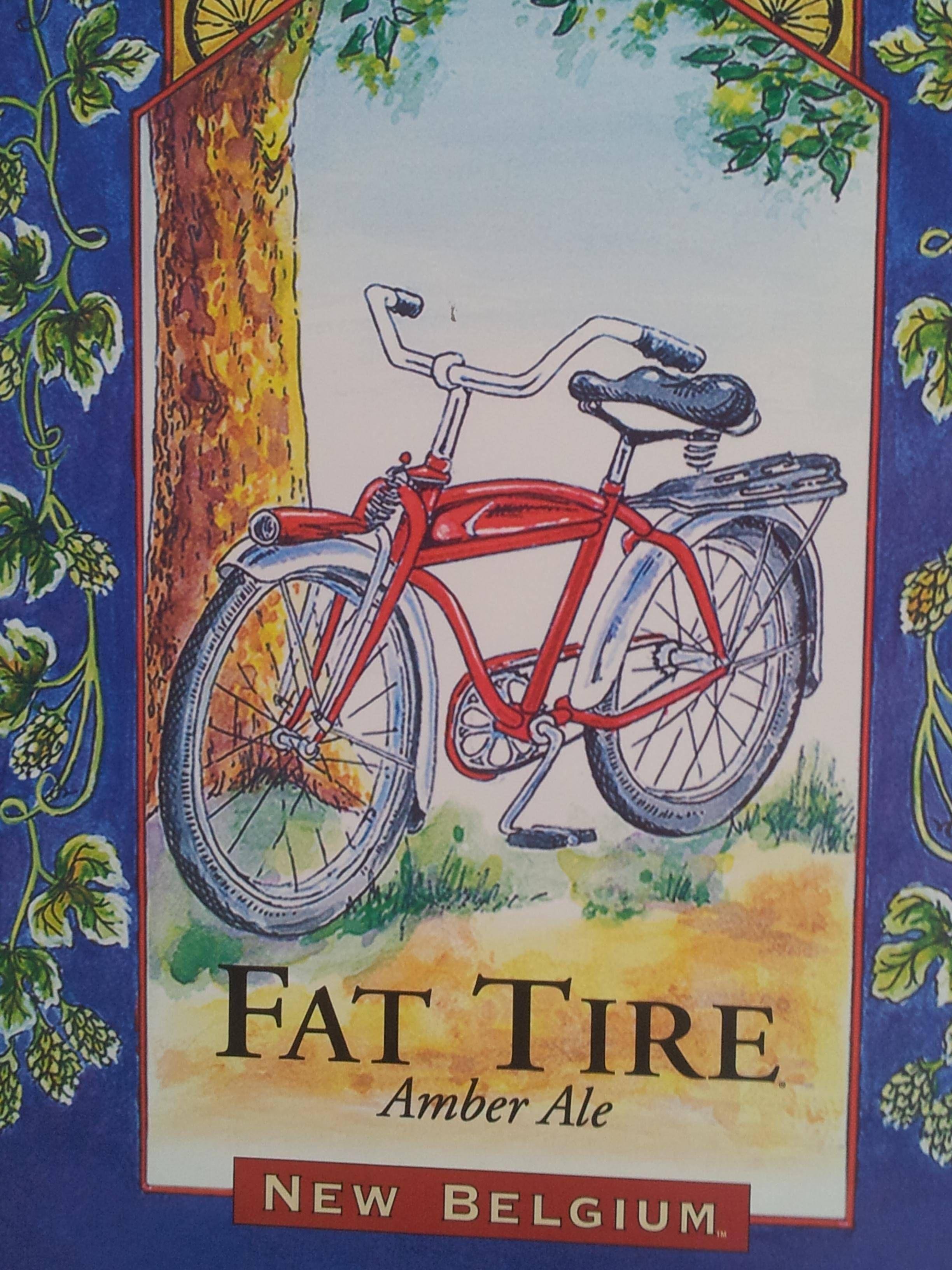 Fat Tire Craft Beer Logo New Belgium Bar Pub Man Cave Wall Decor Metal Tin Sign
