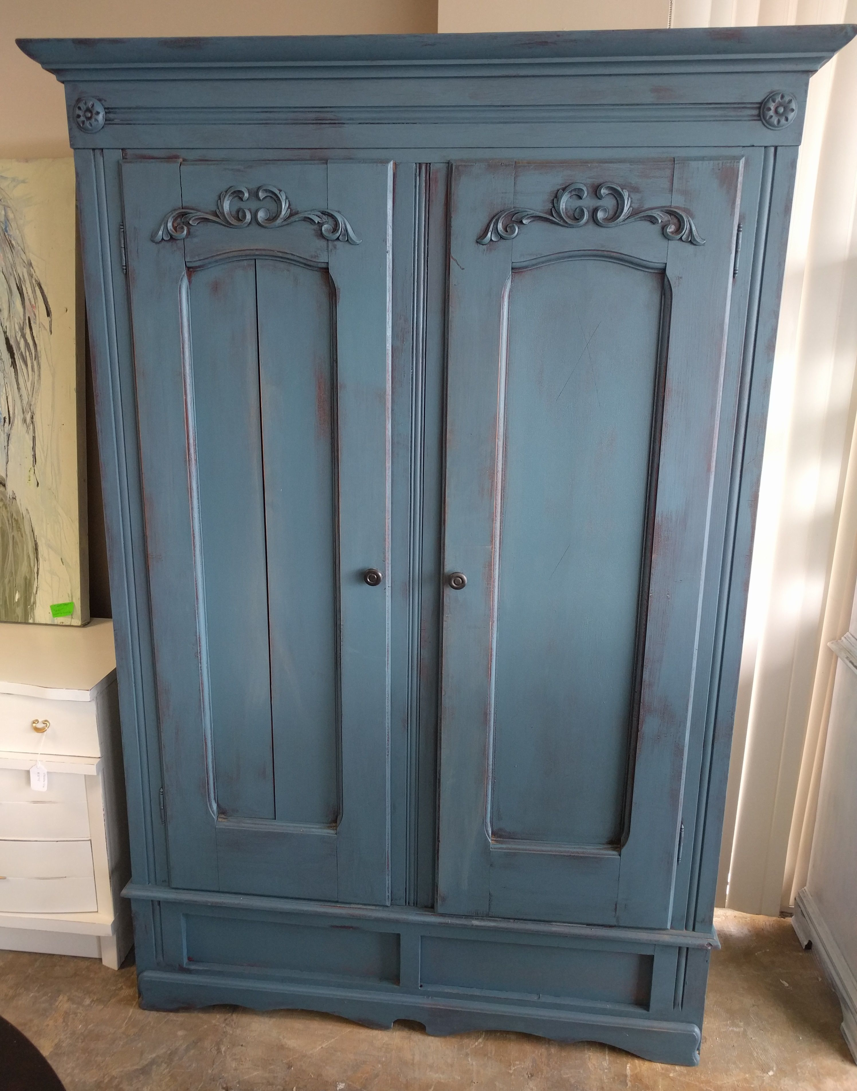 This Is A Gorgeous Antique Wardrobe Armoire That I Painted A Smokey Blue Color What Do You Think The Antique Wardrobe Shabby Chic Painting Gorgeous Antiques
