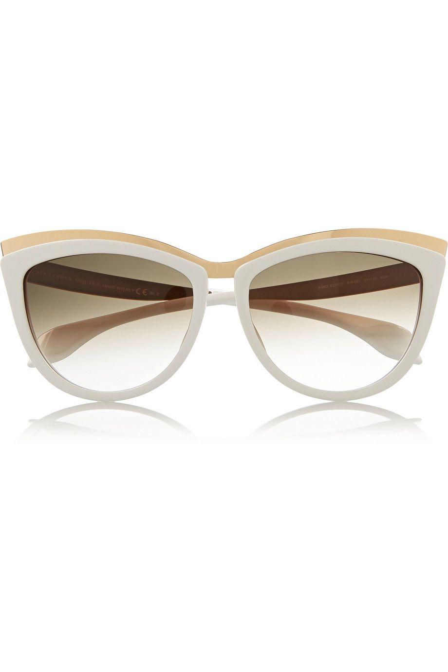 Alexander McQueen|Cat eye acetate and metal sunglasses|NET-A-PORTER.COM