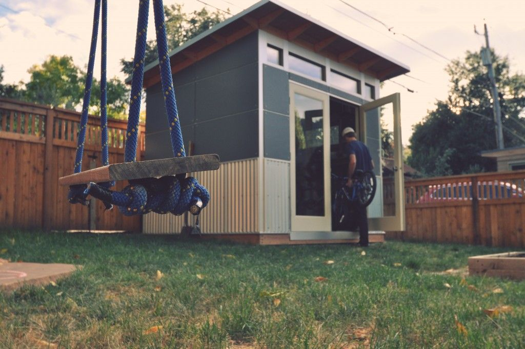 Studio shed creates high efficiency prefabricated backyard for Prefab garden sheds