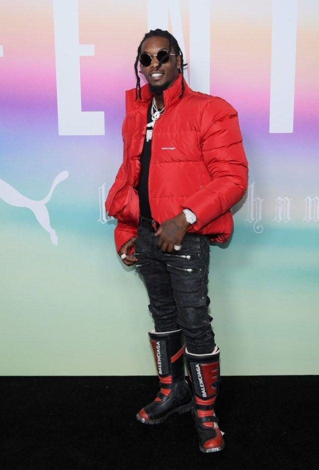 1d2d0de6093 Offset Wears Balenciaga Jacket, Boots and Faith Connexion Jeans at Fenty x  Puma Fashion Show | UpscaleHype