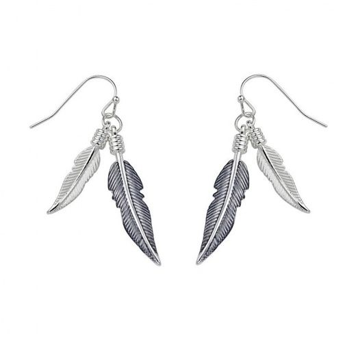 M51 Long hand painted silver and grey feather necklace