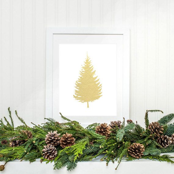 Christmas Tree Printable Gold Foil Christmas by MossAndTwigPrints