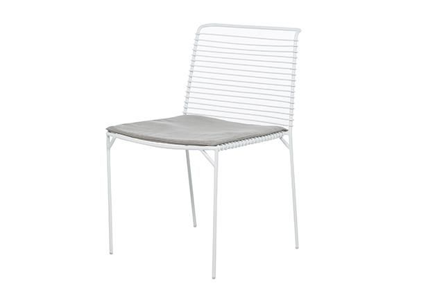 Cancun Slat Dining Chair in White/Pale Grey  #globewest #contemporary #style #outdoor #furniture