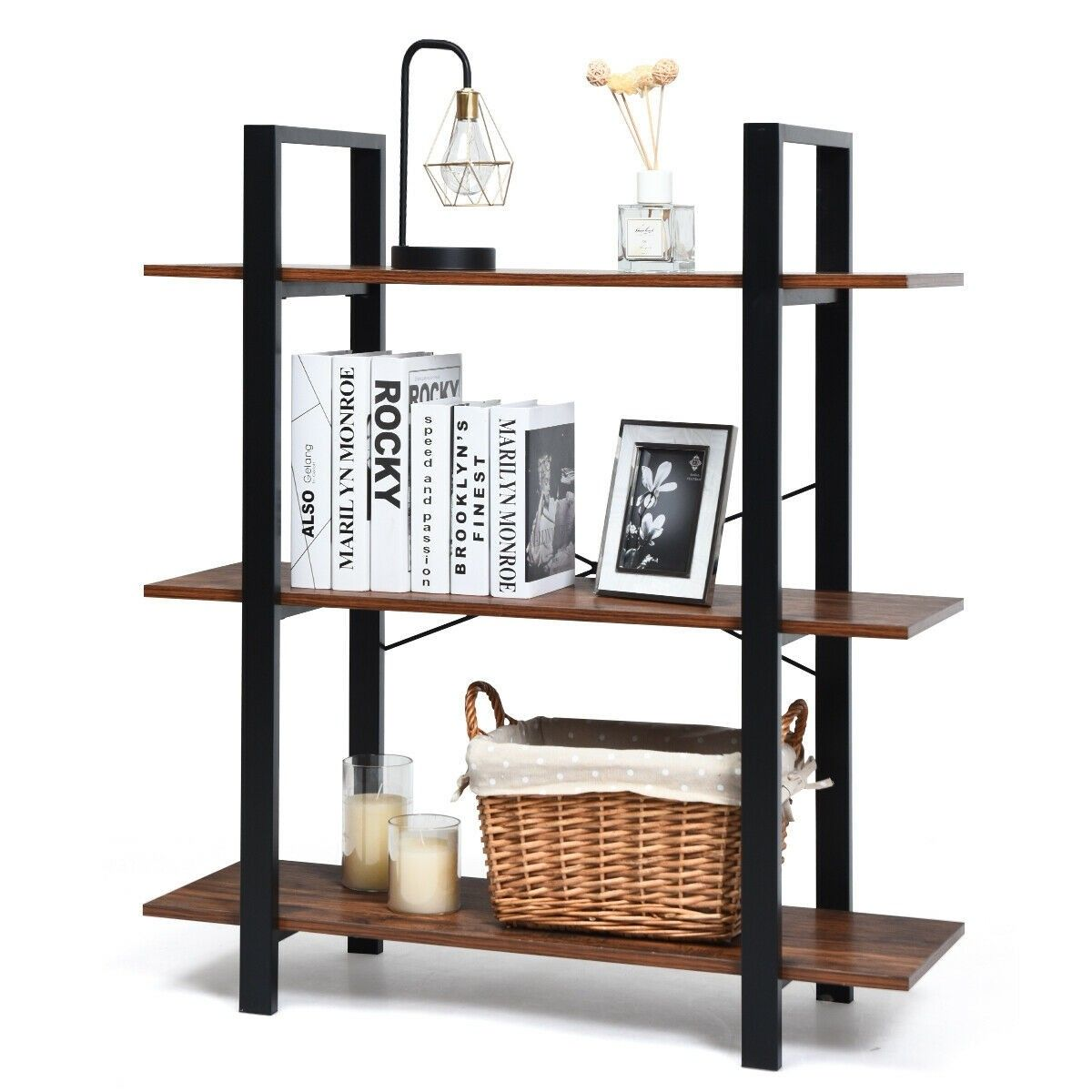 3 Tiers Bookshelf Industrial Bookcases Metal Frame Shelf Stand 79 95 Free Shipping It Is Made Of P2 Grade Particle Board Frame Shelf Metal Bookshelf Shelves