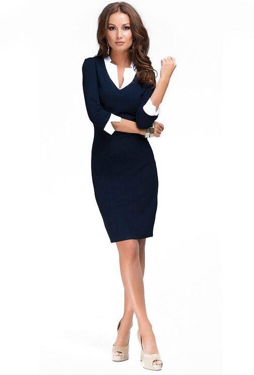 7dbd5d3552fe ... women & vintage dresses. Navy Contrast Collar Bodycon Pencil Dress -  abaday.com