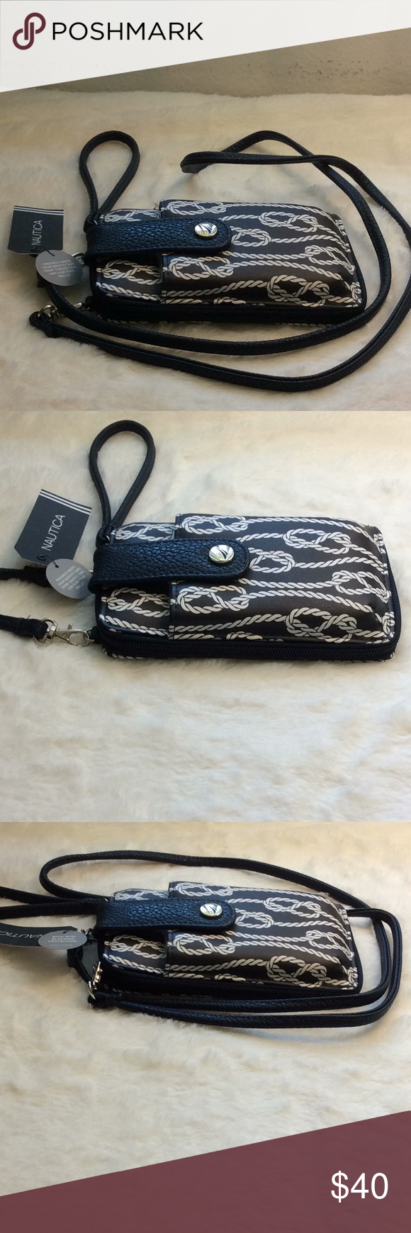 Nautica Cross Body-Clutch Wallet Wristlet   NWT Nautica Cross Body Clutch Wallet Wristlet    NWT  It has a front compartment for a CellPhone Identity protective lining. Nautica Bags Crossbody Bags