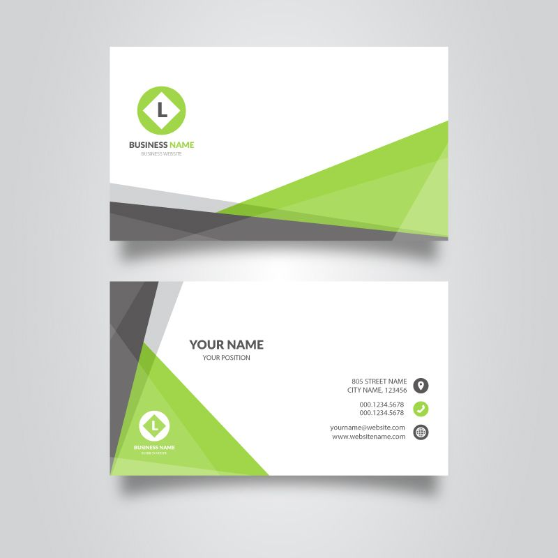 White And Green Visiting Card Template Free Customize Business