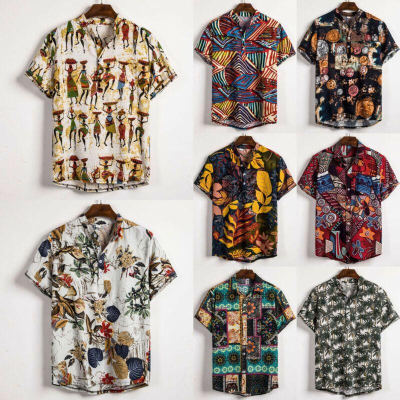 Casual Mens Linen Blend T-Shirt Slim Fit Short Sleeve Tops Fashion Floral Shirts