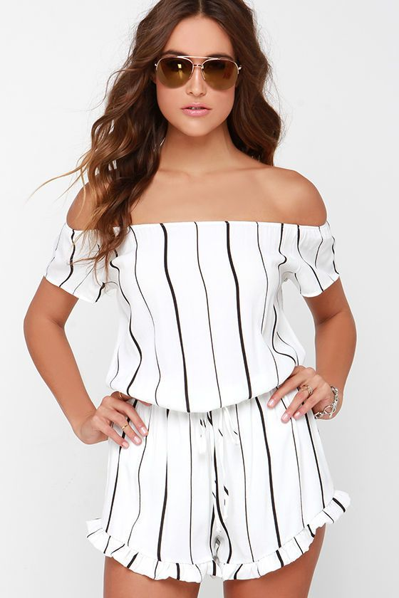 96b7d0324 Honest to Goodness Ivory Striped Off-the-Shoulder Romper | Stylish ...