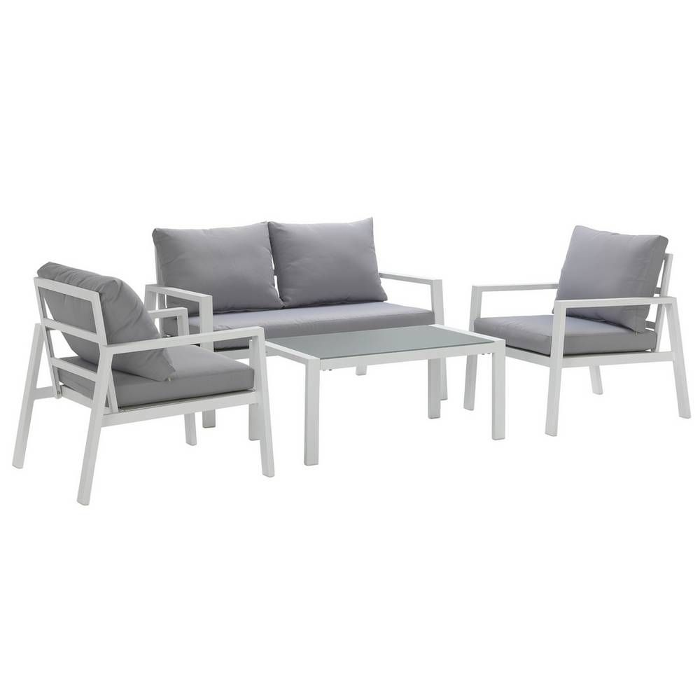 Buy Argos Home Sitges Aluminium 4 Seater Sofa Set Light Grey Patio Sets Argos Metal Garden Furniture Sofa Set Garden Furniture Sets