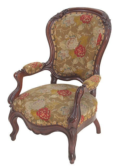 Rococo Victorian walnut child's chair with needlepoint fabric from souhantq  on Ruby Lane - Rococo Victorian Walnut Child's Chair With Needlepoint Fabric From