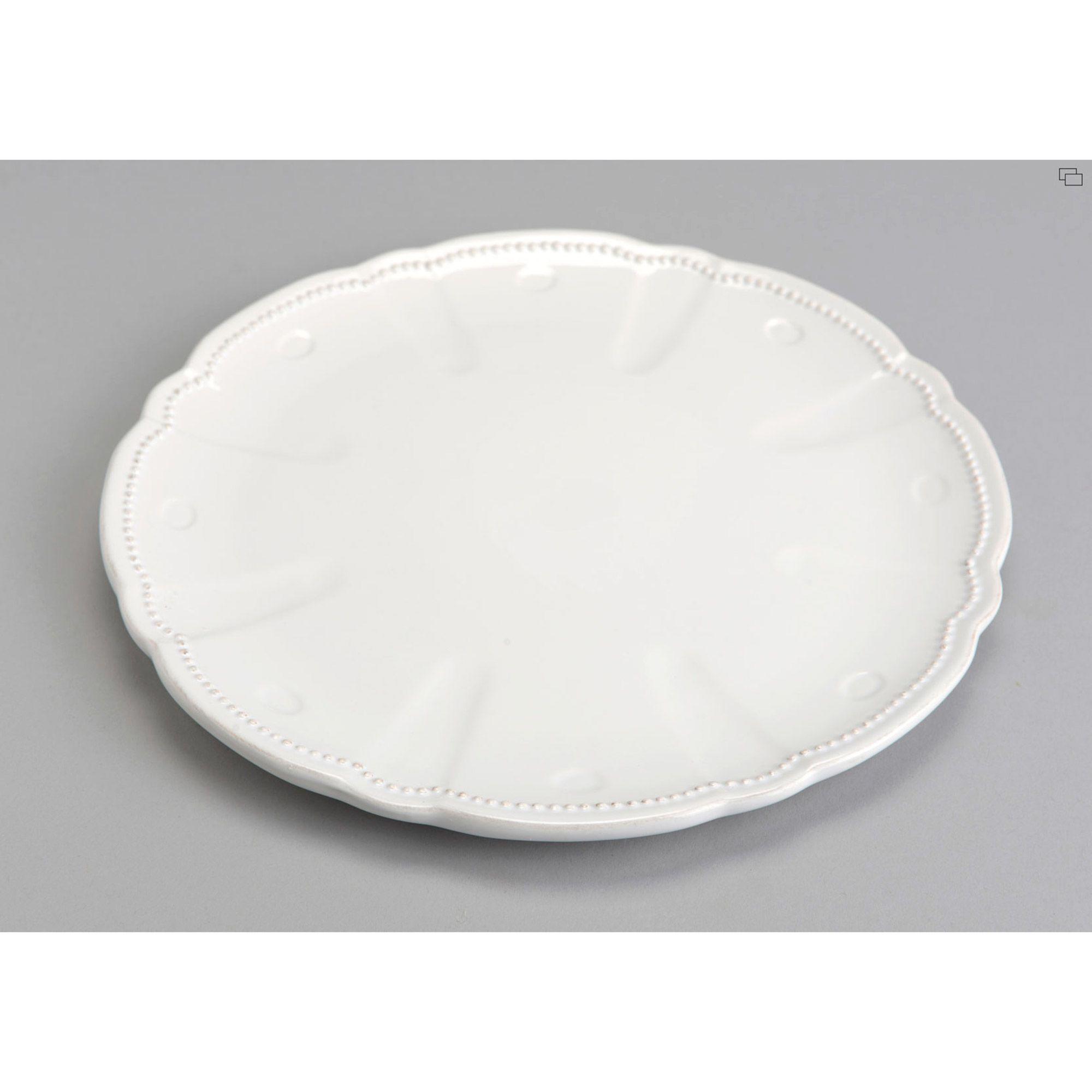 Assiette Plate En Dolomie Bordure Relief D 26cm Lot De 6 Perle