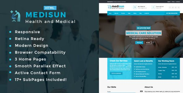 Medisun - Health And Medical HTML Template (Business) - http://wpskull.com/medisun-health-and-medical-html-template-business/wordpress-offers