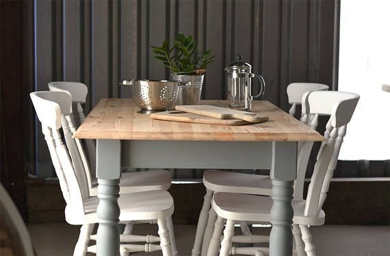 RESERVED Grey Pine Dining Table, Farmhouse Dining Table, 4 Seater, Dining  Table And