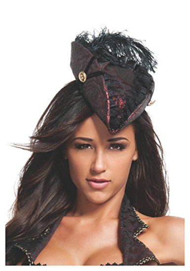 61b820bde1b Sexy Renegade Lady Red Brocade Mini Fascinator Pirate Hat Accented with  Black Elastic Pin-On with Gold Buttons