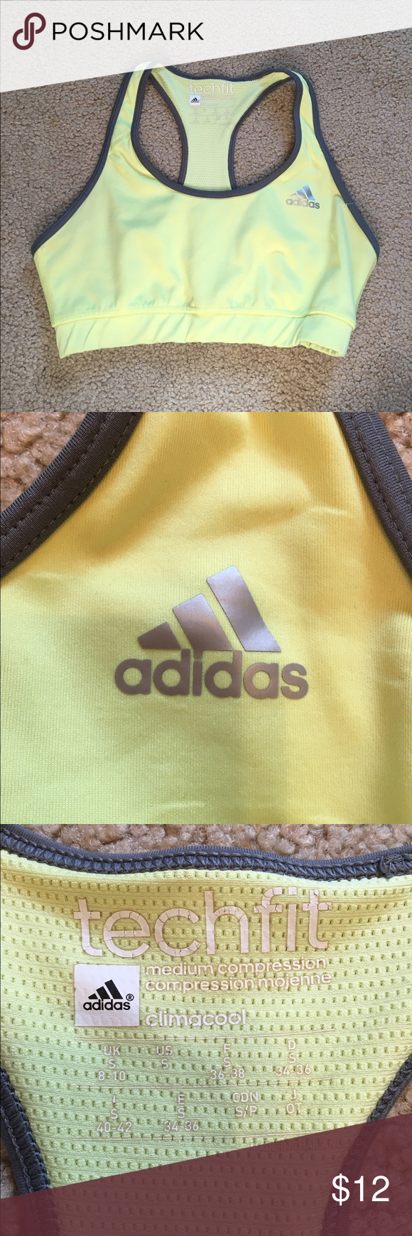 Adidas sports bra Lemon yellow adidas sports bra Adidas Intimates & Sleepwear Bras