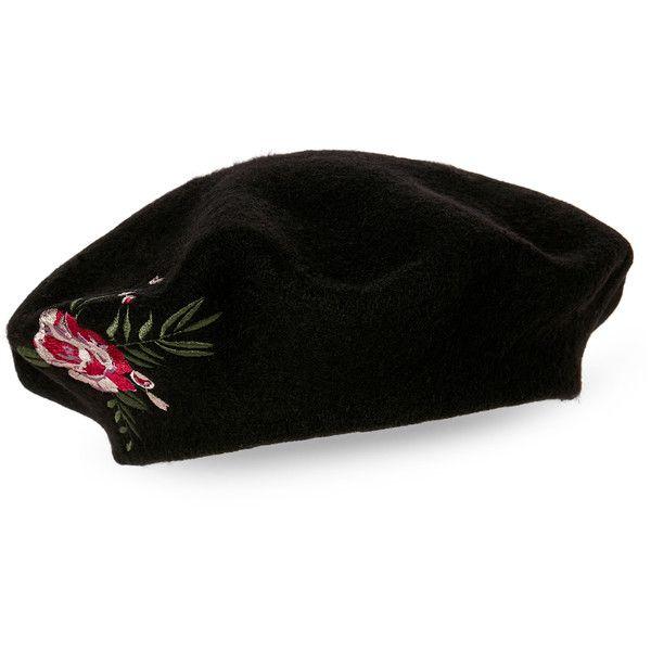 35d56c049 Bcbgeneration Black Floral Beret ($16) ❤ liked on Polyvore ...